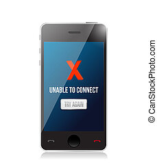 phone unable to connect message sign concept illustration...