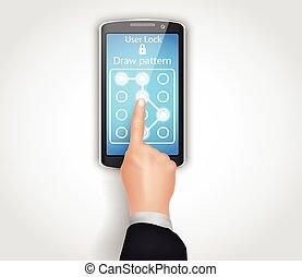 Phone unlocking pattern - Illustration of Phone unlocking...