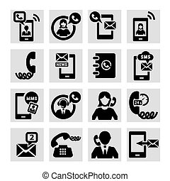 phone vector icons - Elegant Vector Black Phone Icons Set.