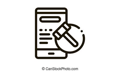 phone version of auction Icon Animation. black phone version of auction animated icon on white background