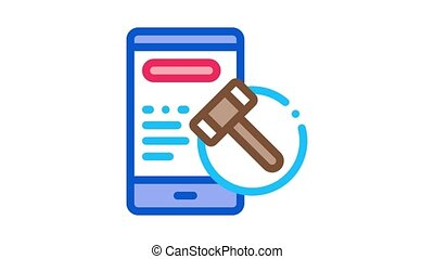 phone version of auction Icon Animation. color phone version of auction animated icon on white background