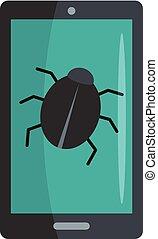 Phone virus icon, flat style