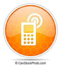 Phone web icon. Round orange glossy internet button for webdesign.