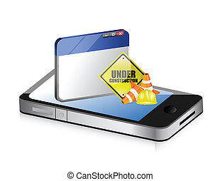 phone website under construction sign