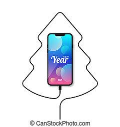 Phone, wire, Christmas tree.