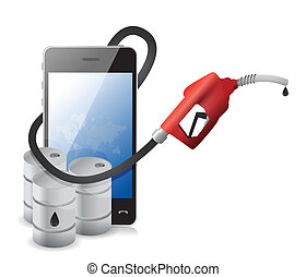 phone with a gas pump nozzle