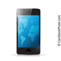 phone with a world map. illustration design