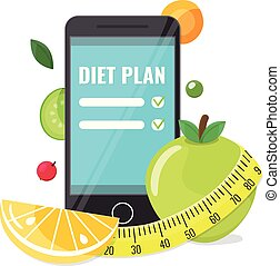 Phone with app of diet plan