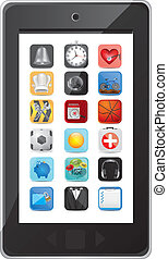 phone with application icons