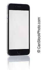 Phone with blank screen on white background
