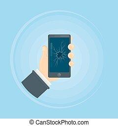 Phone with broken screen.