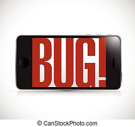 phone with bug sign illustration design