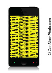 phone with caution illustration