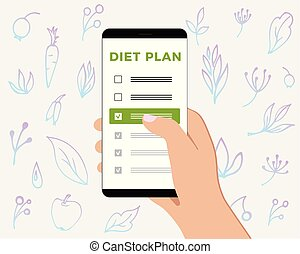 Phone with checklist diet plan in hand. Smartphone screen with a gentle background with healthy and natural products and plants.