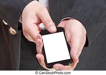 phone with cut out screen in businessman hand