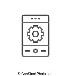 Phone with gear, smartphone repair, mobile development line icon.