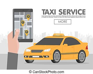 Phone with interface taxi on screen on background the city. Mobile app for booking service. Flat vector illustration for business, info graphic, banner, presentations
