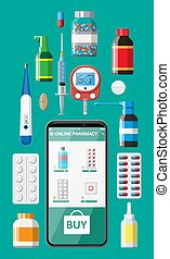 Phone with internet pharmacy app - Mobile phone with ...