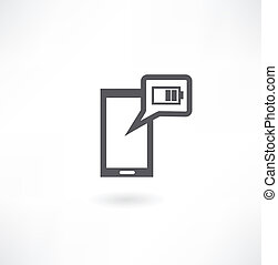 phone with low battery illustration design over a white background