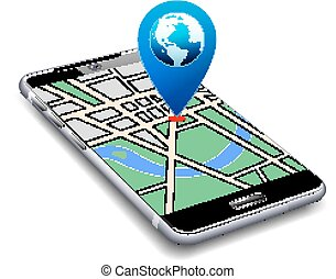 Phone with Map Pointer Icon