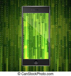 phone with matrix background