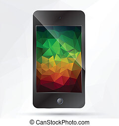 phone with polygonal background
