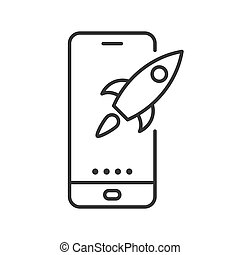 Phone with rocket icon. Vector illustration. Linear icon in flat design