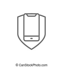 Phone with shield, smartphone protection line icon.