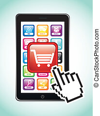 phone with shopping cart, mobile buying. vector illustration