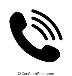 Phone with waves symbol icon - black simple, isolated - vector