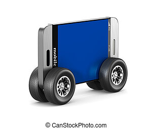 phone with wheels on white background. Isolated 3D illustration