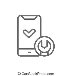 Phone with wrench, smartphone repair line icon.