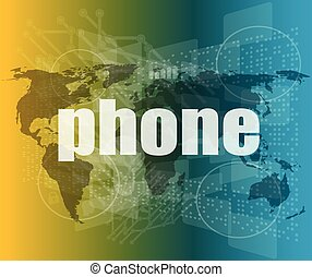phone word on digital touch screen, business concept vector quotation marks with thin line speech bubble. concept of citation, info, testimonials, notice, textbox. flat style
