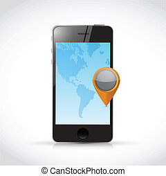 phone world location indicator. illustration