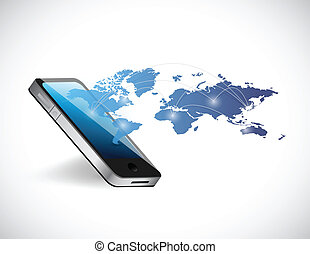 phone world map network illustration design