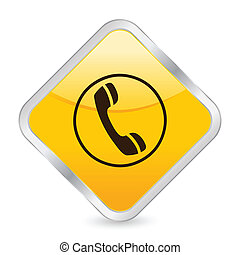 phone yellow square icon