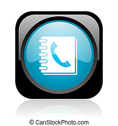 phonebook black and blue square web glossy icon