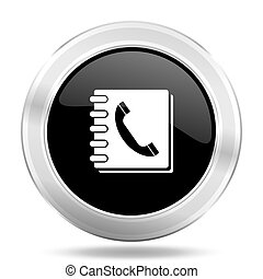 phonebook black icon, metallic design internet button, web and mobile app illustration