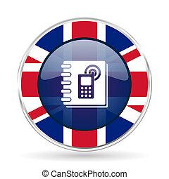 phonebook, britânico, desenho, ícone, -, redondo, prata,...