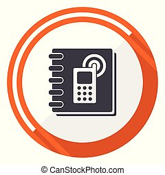 Phonebook flat design vector web icon. Round orange internet button isolated on white background.