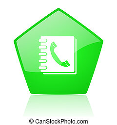 phonebook green pentagon web glossy icon