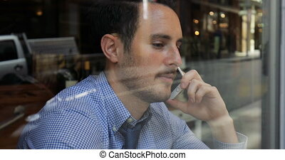 Phonecalls And Coffee Before Work - Millennial businessman...