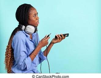 phones., afrikanisch, kopf, retro, frau, amerikanische , ...