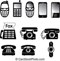 Collection of vector old and new phone icons