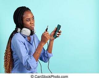 phones., junger, afrikanisch, verdrahtet, kopf, ...