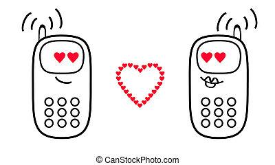 phones., mobile, sentiments, rendre, hearts., amour, dessin animé, 3d