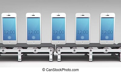 phones on conveyor for use in presentations, manuals,...