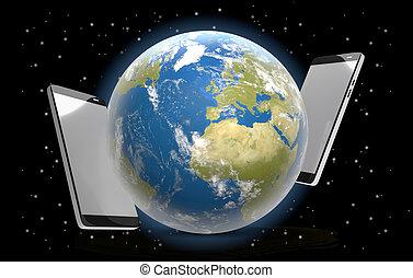 phones world stars universe 3d-illustration