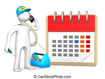 Phoning Electrician Calendar - Phoning electrician with...