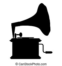 Phonograph Gramophone vintage Turntable for vinyl records icon black color vector illustration flat style image
